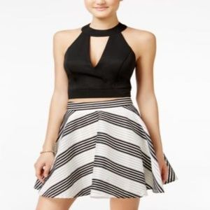 City Studios Juniors Striped Fit & Flare Skirt